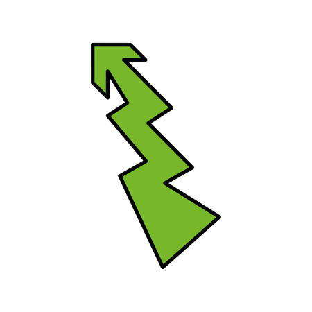 orientation marker: Direction concept represented by green arrow icon. Isolated and flat illustration