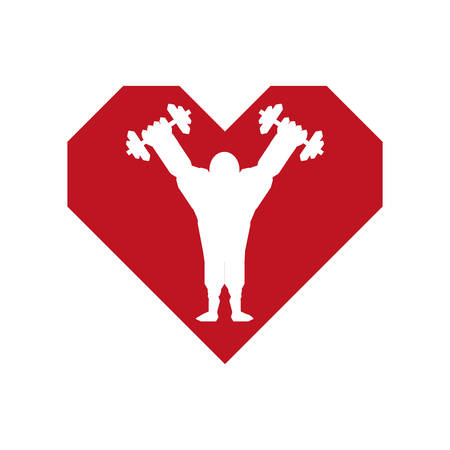 over weight: Bodybuilding concept represented by weight lifting and cartoon man over heart icon. Isolated and flat illustration