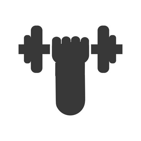 hand lifting weight: Bodybuilding concept represented by weight lifting icon. Isolated and flat illustration