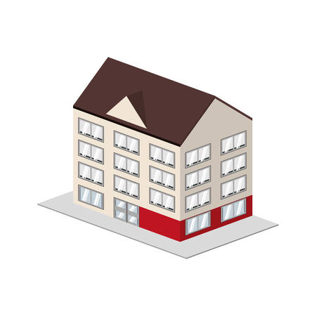 pensions: Hotel concept represented by building icon. Isolated and flat illustration