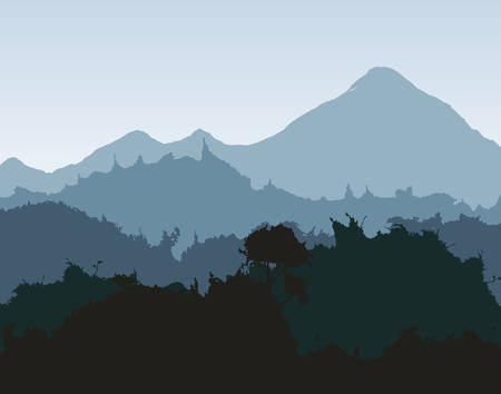 backgraound: Landscape concept represented by silhouette icon. Backgraound and splash illustration