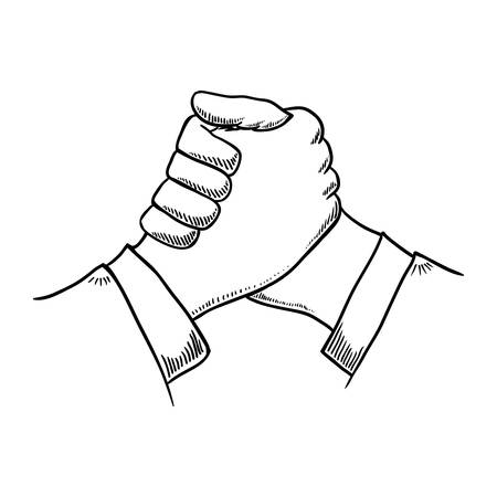 constructing: Help concept represented by hand shake icon. Isolated and flat illustration
