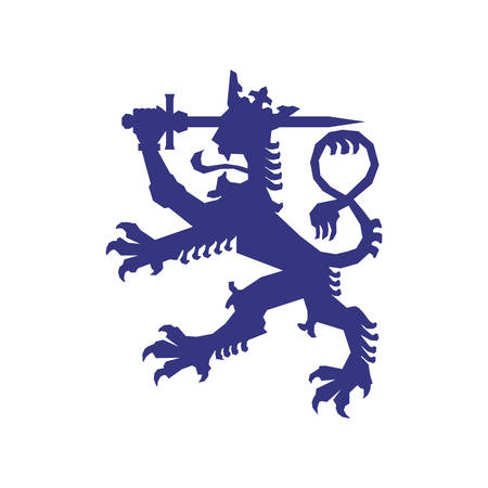 heraldic lion: Insignia concept represented by heraldic lion icon. Isolated and flat illustration