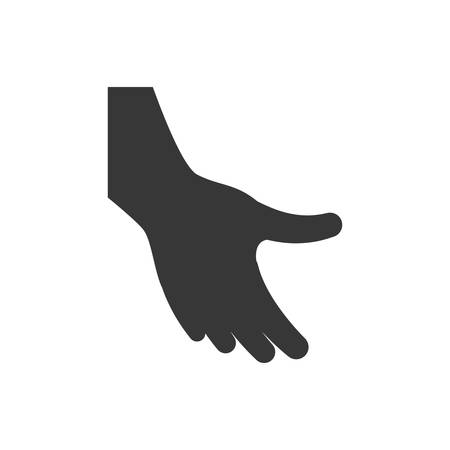 hand silhouette: Help gesture concept represented by human hand silhouette icon. Isolated and flat illustration.