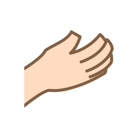 constructing: Help gesture concept represented by human hand icon. Isolated and flat illustration.