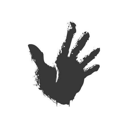 hands together: Help gesture concept represented by human hand silhouette icon. Isolated and flat illustration.