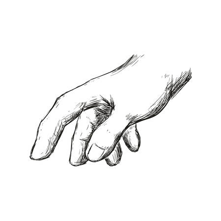 constructing: Help gesture concept represented by human hand icon. Isolated and sketch illustration.