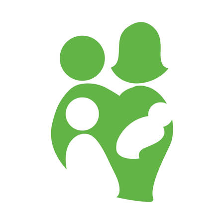 abstract family: Abstract family concept represented by Parents, child and baby icon. Isolated and flat illustration