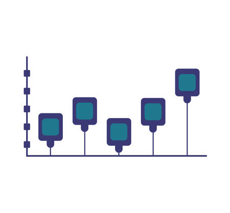 infomation: Infographic concept represented by data bars icon. Isolated and flat illustration