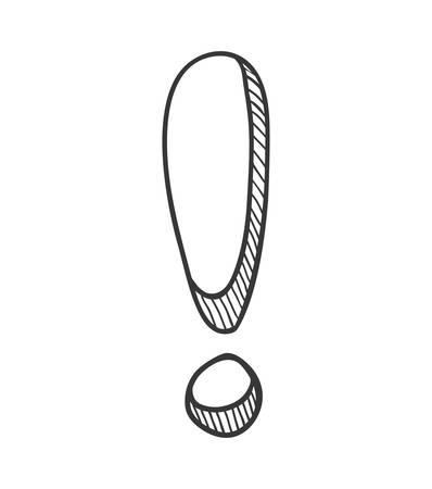 Concept d'avertissement et de message représenté par l'icône de point d'exclamation de croquis. Illustration isolée et plane