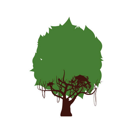 ecosystem: Nature and ecosystem concept represented by green tree icon. Isolated and flat illustration