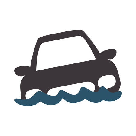 being: Insurance and Protection concept represented by car being flooded icon. Isolated and flat illustration