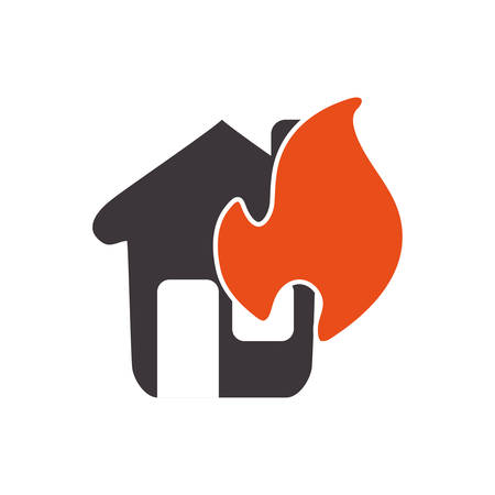 guard house: Insurance and Protection concept represented by house on fire icon. Isolated and flat illustration