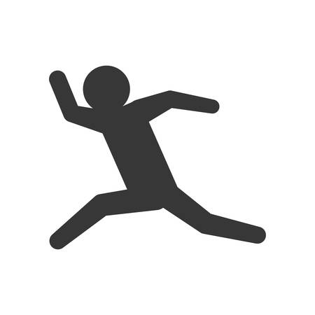 Person doing action concept represented by pictogram jumping icon. Isolated and flat illustration