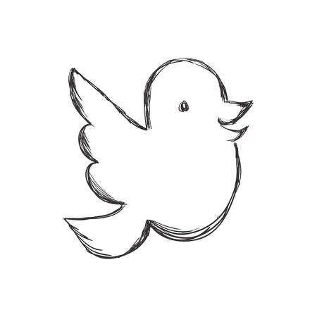reserve: Sketch animal concept represented by bird icon. Isolated and flat illustration