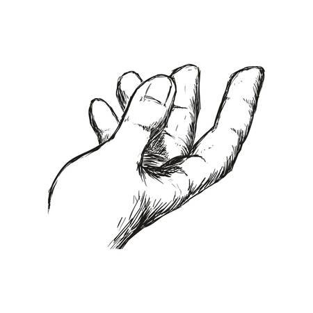 Menselijk handconcept dat door gebaar met vingerspictogram wordt vertegenwoordigd. Geïsoleerde en schetsillustratie Stock Illustratie
