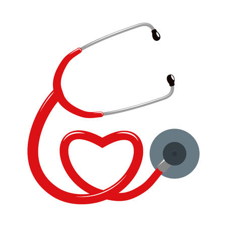 Medical and Health care concept represented by stethoscope and heart icon. Isolated and flat illustration Illustration