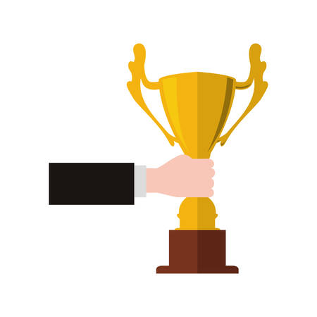 competitor: Winner and competition concept represented by gold trophy cup icon. Isolated and flat illustration