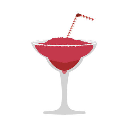 drinking straw: Drink and alcohol concept represented by cocktail glass with drinking straw icon. Isolated and flat illustration
