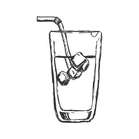 drinking straw: Drink and alcohol concept represented by cocktail glass with drinking straw icon. Isolated and sketch illustration Illustration