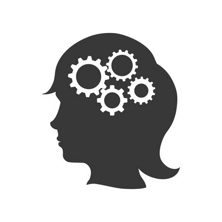 machine part: Machine part concept represented by gear icon inside female silhouette head. Isolated and flat illustration Illustration