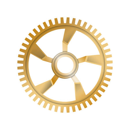 machine part: Machine part concept represented by gold gear icon. Isolated and flat illustration