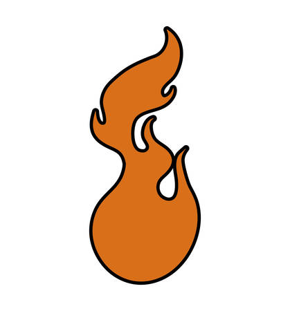 flammable warning: Fire concept represented by orange flame icon. Isolated and flat illustration