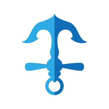 Sea lifestyle and nautical concept represented by blue anchor icon. Isolated and flat illustration