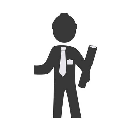 architecture pictogram: architecture and construction concept represented by architect pictogram icon. Isolated and flat illustration Illustration