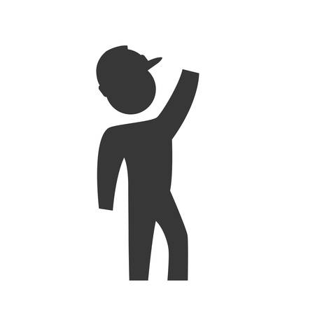reconstruction: Repair and construction concept represented by constructer pictogram with helmet icon. Isolated and flat illustration Illustration