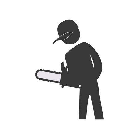 warning saw: Repair and construction concept represented by constructer pictogram icon. Isolated and flat illustration