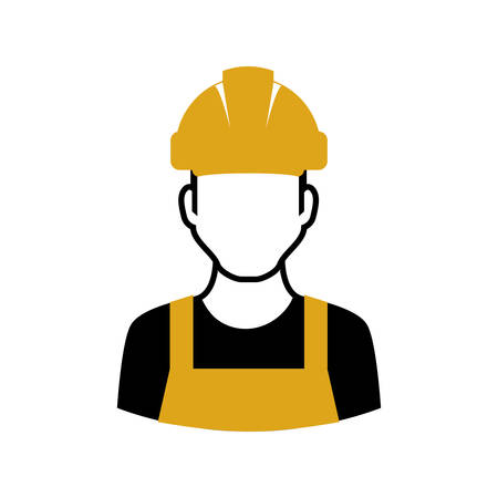 construction helmet: Repair and construction concept represented by constructer with helmet icon. Isolated and flat illustration Illustration