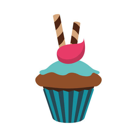 frosting: Bakery concept represented by muffing cupcake icon. Isolated and flat illustration
