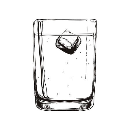 represented: Drink concept represented by glass icon. Isolated and sketch illustration Illustration