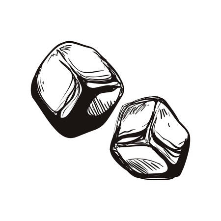 concepto de hielo representada por el icono de cubo. ilustración y dibujo