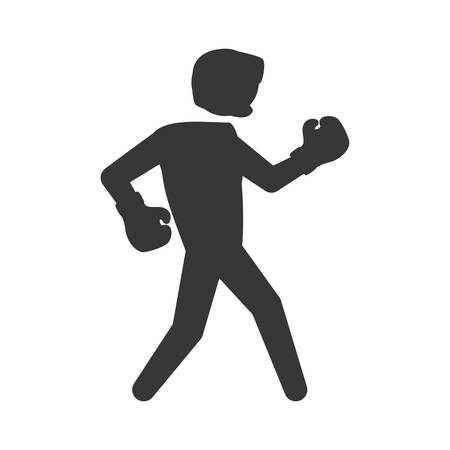 represented: Boxing concept represented by boxer icon. Isolated and flat illustration