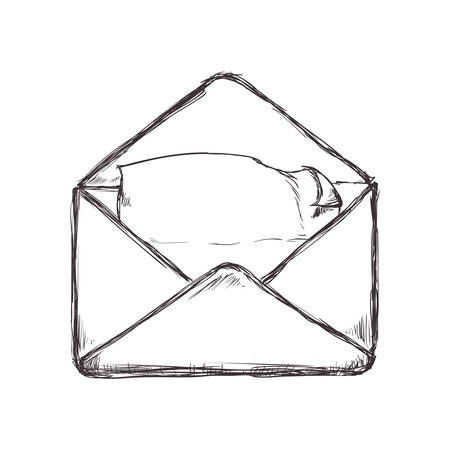 represented: Email concept represented by envelope icon. Isolated and sketch illustration