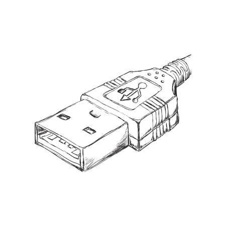 computer socket: Gadget and technology concept represented by usb icon. Isolated and sketch illustration