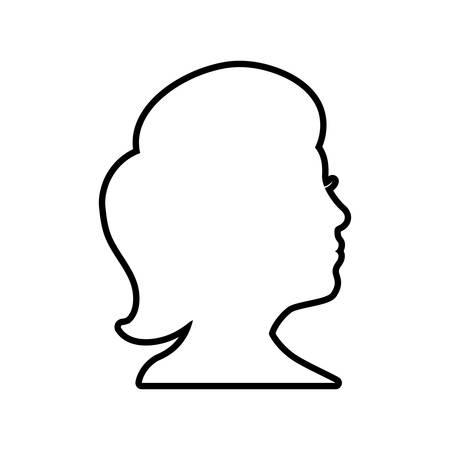 Cabeza humana y pensar concepto representado por el icono de la mujer. Ilustración aislada y plana