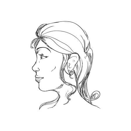 cabeza humana y creo que el concepto representado por el icono de la mujer. ilustración y dibujo