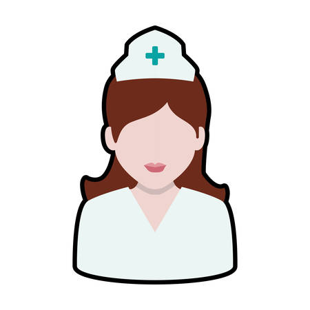 nurse hat: Medical and health care concept represented by nurse woman icon. Isolated and flat illustration