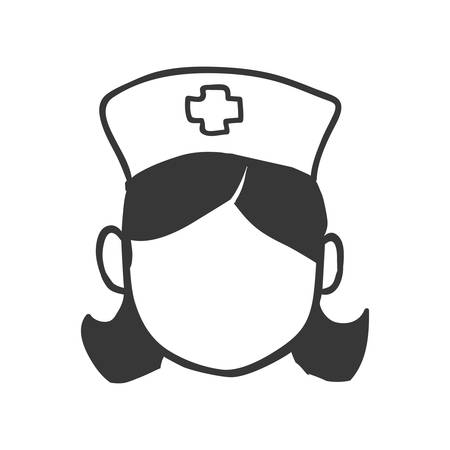 Medical and health care concept represented by silhouette nurse woman icon. Isolated and flat illustration
