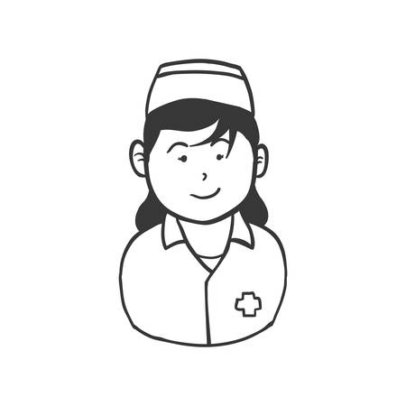 health care concept: Medical and health care concept represented by silhouette nurse woman icon. Isolated and flat illustration