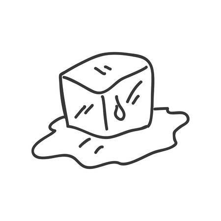 refrigerate: Sketch concept represented by ice cube icon. Isolated and flat illustration