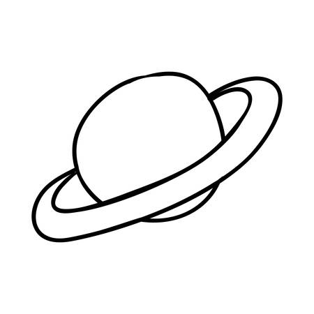 orbital station: Sketch and science concept represented by jupiter icon. Isolated and flat illustration
