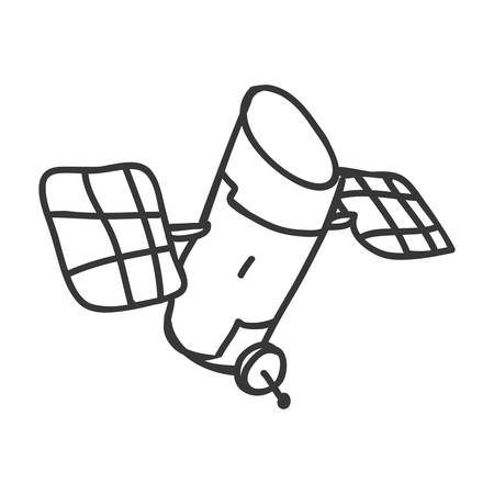 orbital station: Sketch and science concept represented by satellite icon. Isolated and flat illustration