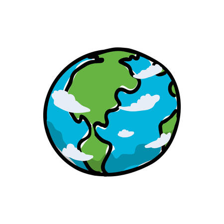 environment geography: Science and space concept represented by planet icon. Isolated and sketch illustration