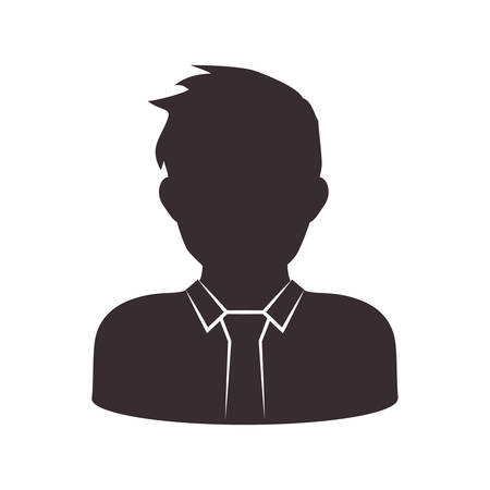 Avatar male concept represented by man head and torso silhouette icon. Isolated and flat illustration Illustration