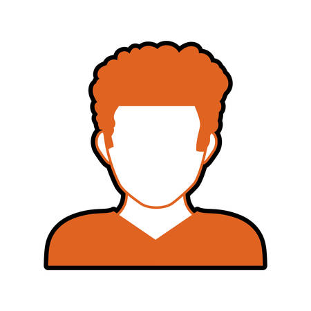 male torso: Avatar male concept represented by man head and torso silhouette icon. Isolated and flat illustration Illustration
