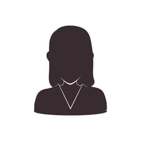 Avatar female concept represented by woman head and torso silhouette icon. Isolated and flat illustration